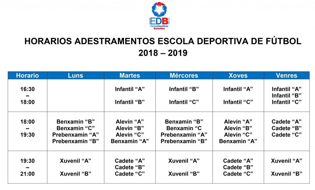 horario fútbol 2018-2019
