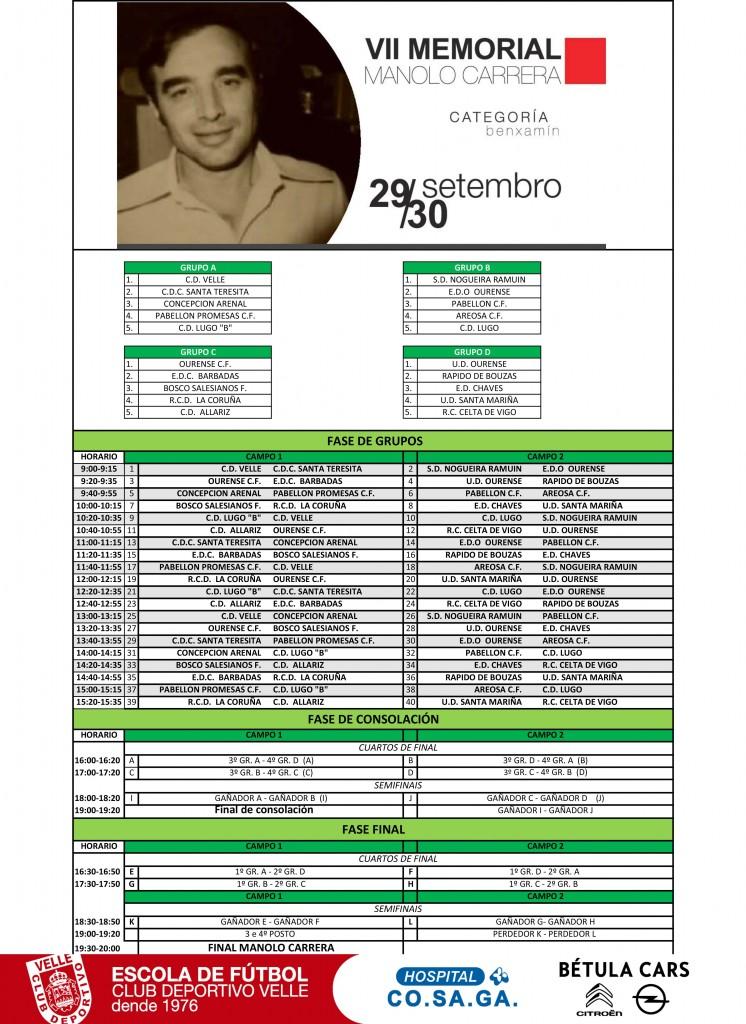 DEFINITIVO Cuadros competición VII Manolo Carrera Benxamin grupos y horarios.